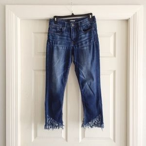 Express Diagonal Fray Hem Crop Jeans 6